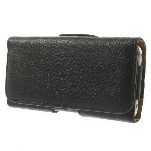 DFV mobile - Case belt clip synthetic leather horizontal premium for =>      Apple iPhone 4 CDMA > Black