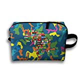Africa Continent Travel Bag Multifunction Portable Toiletry Bag Organizer Storage