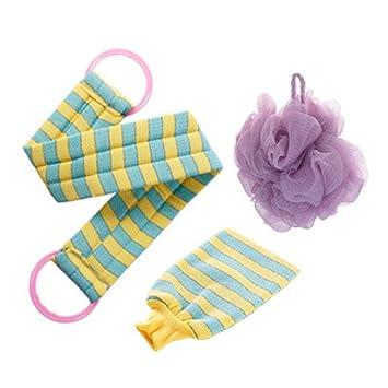 Sunbobo Loofah Mesh Back Strip Toalla De Baño De Doble Cara Bola De Baño Bath Flower Guantes Set De 3 Depurador de Puf Mesh Extra Grande (Color : Púrpura): ...
