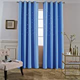 Jaoul Die Cut Twinkle Star Blackout Grommet Top Curtains, Hollowed Out Starry Drape for Kids Nursery, Bedroom, Living Room, 52W x 84L Inch, 1 Panel (Blue) Review