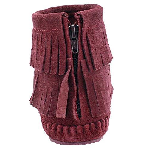 Zip Debra Women's Back Ii Fringe Hi Softmoc Moccasin Burgundy XqwSf5