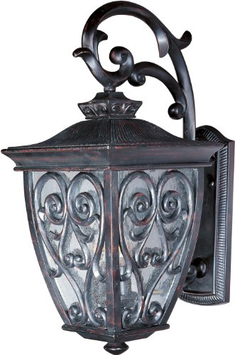 Maxim 40123CDOB Newbury VX 2-Light Outdoor Wall Lantern, Oriental Bronze Finish, Seedy Glass, CA Incandescent Incandescent Bulb , 100W Max., Dry Safety Rating, Standard Dimmable, Fabric Shade Material, 4600 Rated Lumens -