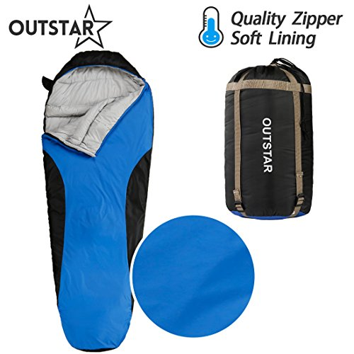 OUTSTAR Lightweight Waterproof Mummy Sleeping Bag With Compression Sack for Kids or Adults Outdoor Camping, Travelling, Hiking & Backpacking (Jazz Blue & Black / Right Zip)