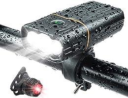 自転車 ライト LED 5200mAh 大容量 800ルーメン IPX5防水 防振 最大約33時間可能 テールライト付き 3つ調光モード 自転車用ヘッドライト 懐中電灯 クロスバイク ロードバイク ライト USB充電式 軽量 強力ledライト...