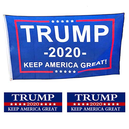 HSIULMY Donald Trump Flag, 3x5 Foot 2020 Great American President Donald Trump Flag and 2 Pack Trump Bumper Stickers, Keep America Great Reflective Stickers, Support Trump
