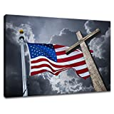 KLVOS - The American Flag Canvas Wall Art USA Flag and Christian Cross Under Cloudy Sky Wall Painting Picture Print On Canvas Stretched and Framed for Living Room 28''x40''