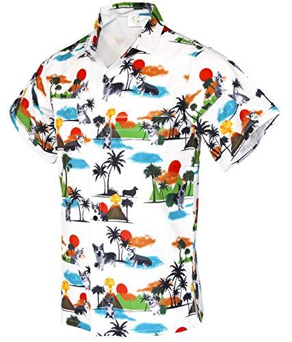 Funny Guy Mugs Men's Hawaiian Corgi Button Down Short Sleeve Shirt, 2X-Large