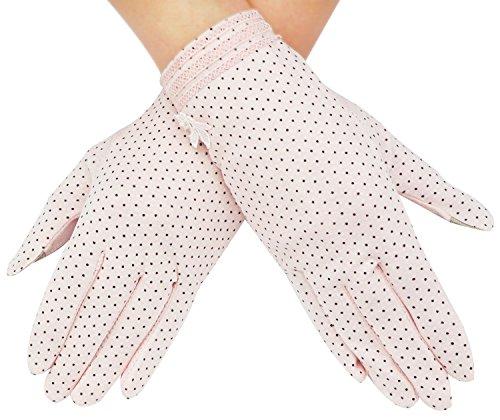 Bienvenu Womens Short Lace Dots Sun Block UV Protection Dressing Driving Gloves,Flower_Pink (Womens Driving Gloves)