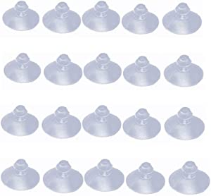 "QMseller 18mm/0.7"" Furniture Desk Glass Rubber Transparent Anti-Collision Suction Cups Sucker Hanger Pads for Glass Plastic Without Hooks, Pack of 20"