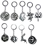 Game of Thrones Keychain 9PCS in 1 Including House of Stark Tully Lanniser Tyrell Targaryen Arryn Greyjoy Baratheon Martell