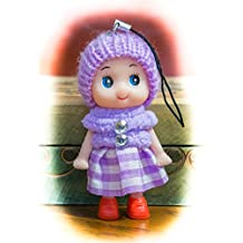 Lilac Cute Snug Cozy Doll Wool Pompom Toy Charm Keyring Keychain Key Chain Soft Fluffy Cotton Knit Hat Gem D Dung D-Dung Sweet Unusual Innocent Hipster (Lilac)