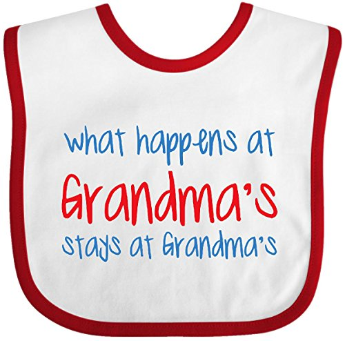 Inktastic - What Happens At Grandma's Baby Bib White/Red d0eb