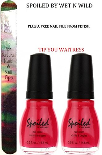 WET N WILD Spoiled Nail Color TIP YOUR WAITRESS (PACK OF 2) (Plus a Free Nail File From fetish for Natural Nails And Nail Tips)
