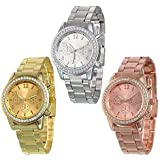Yunanwa 3 PACK Silver Rose Gold Plated Classic Round CZ Ladies Boyfriend Watch