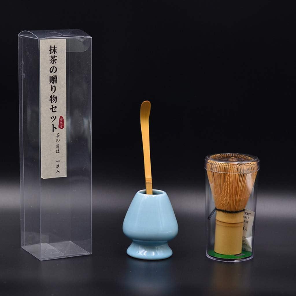 A # Azure ZOOMY Kit de Matcha japon/és Cuchara y Estante de t/é de bamb/ú Tradicional Matcha Blender