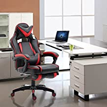 Acepro Racing Style Reclining Office Chair Executive Gaming Computer Versatile Desk Chair High Back with Footrest PU Leather 360 Degree Swivel Chair, Black Red