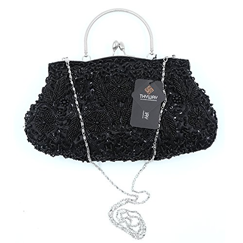 Metal Beaded Kissing Interior Black Sequin Frame Design Clutch Satin Evening Lock ThyWay 7atqZ1xw7