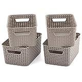 EZOWare - Cestas de Almacenamiento pequeñas de plástico Gris para Cocina, Sala de Estar, Oficina, Cuarto de baño, recámara, Paquete de 4