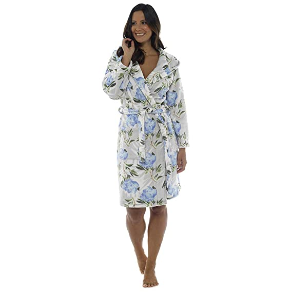 New Quality Ladies Longer Length Soft Fleece Hooded Bath Robe Gown Nightwear  RRP £ 34.99 ( 78ded154c