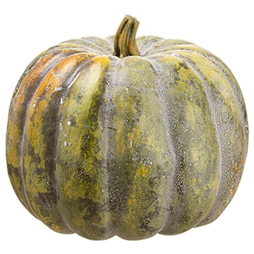 12''Hx13''W Artificial Weighted Pumpkin -Green (pack of 2) by SilksAreForever