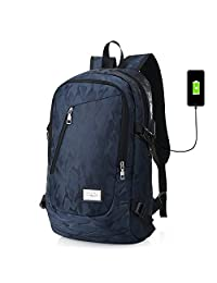 GuiShi(TM) Laptop Backpack Business Bags with USB Charging Port Anti-Theft Water Resistant Polyester School Bookbag for College Travel for Under 18Inch Laptop and Notebook (Blue)