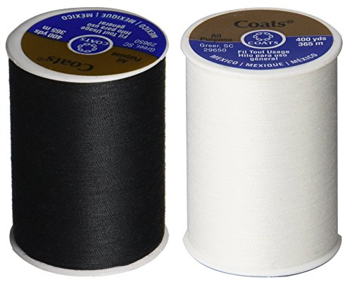 2-Pack - BLACK & WHITE - Coats & Clark Dual Duty All-Purpose Thread - One 400 Yard Spool each of BLACK & White (Thread Sewing)