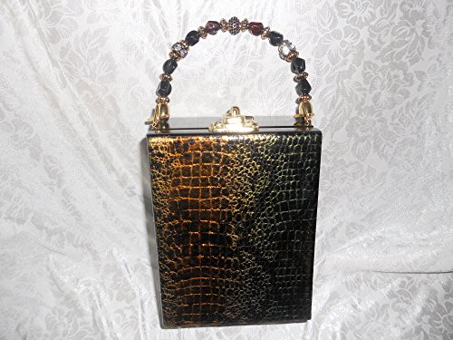 Ladies Vintage Cigar Box Purse, Leather Pocketbook, Snakeskin Metallic Leather Print, Gold, Black, Green