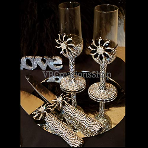 Black and Silver Champagne Flute Stemware set, Cake Knife Set and Cake Plate With Forks for Parties, Weddings and Events, 4pcs and 7pcs
