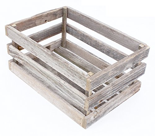 BarnwoodUSA Rustic Wood Crate - 100% Upcycled Reclaimed Wood