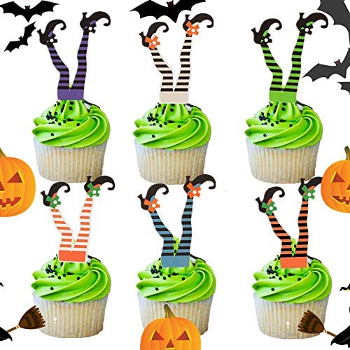 100 Tatuo Plastic Halloween Picks Halloween Cupcake Topper Picks Ghost Decor for Kids Birthday Party Themed Party