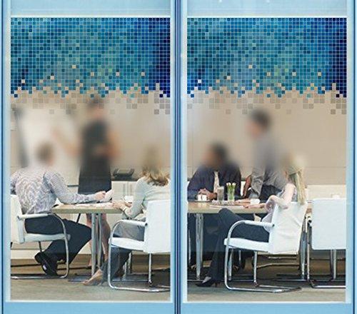 Keepforeverlove Frosted Glass Sticker, Blue Mosaic Glass Flim Sticker For Bathroom Balcony Sliding Door Waterproof Decorative Window Film (Mosaic)