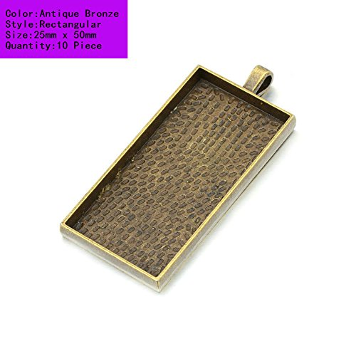 AKOAK 10 Pieces 25mm X 50mm Antique Bronze Rectangle Pendant Trays Pendant Blanks Cameo Bezel Settings for Photo Charm,Cabochon and Jewelry Making
