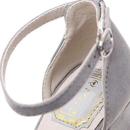 GRRONG Sandalias De La Mujer En Punta Zapatos De Tacón Alto Sandalias De Moda Gray