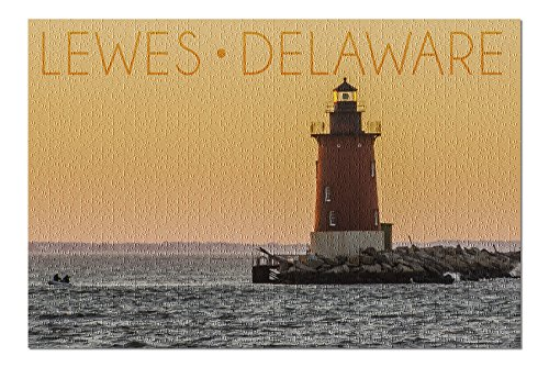 Lewes, Delaware - Cape Henlopen Lighthouse Sunset (20x30 Premium 1000 Piece Jigsaw Puzzle, Made in USA!)