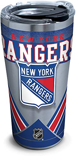 Tervis 1283414 NHL New York Rangers Ice Stainless Steel Insulated Tumbler with Clear and Black Hammer Lid, 20oz, Silver (New York Rangers Tumbler)