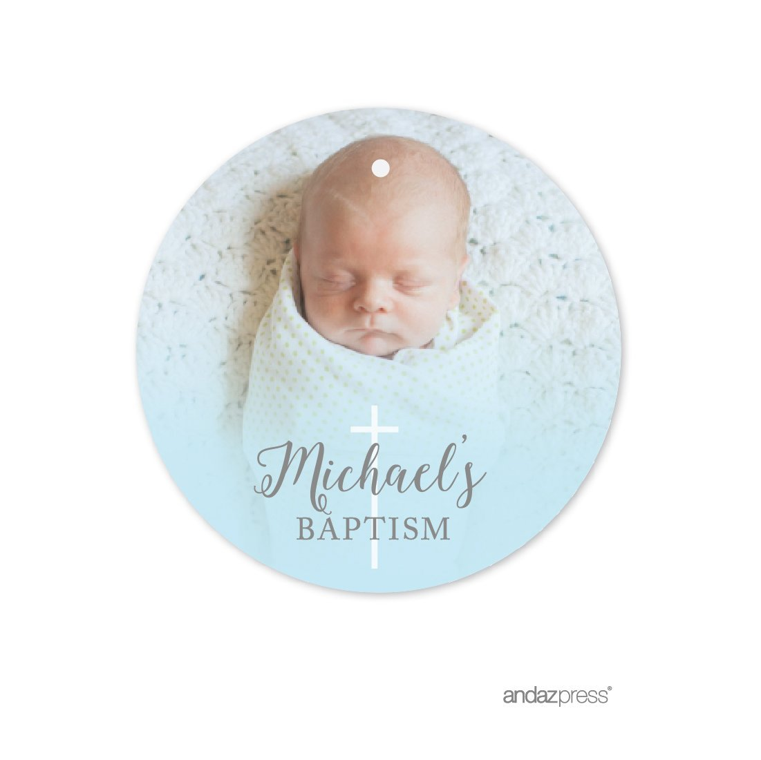 Amazon.com: Andaz Press Baby Blue and Gray Boy Baptism Collection, Photo Personalized Round Circle Gift Tags, 24-Pack, Custom Image: Health & Personal Care
