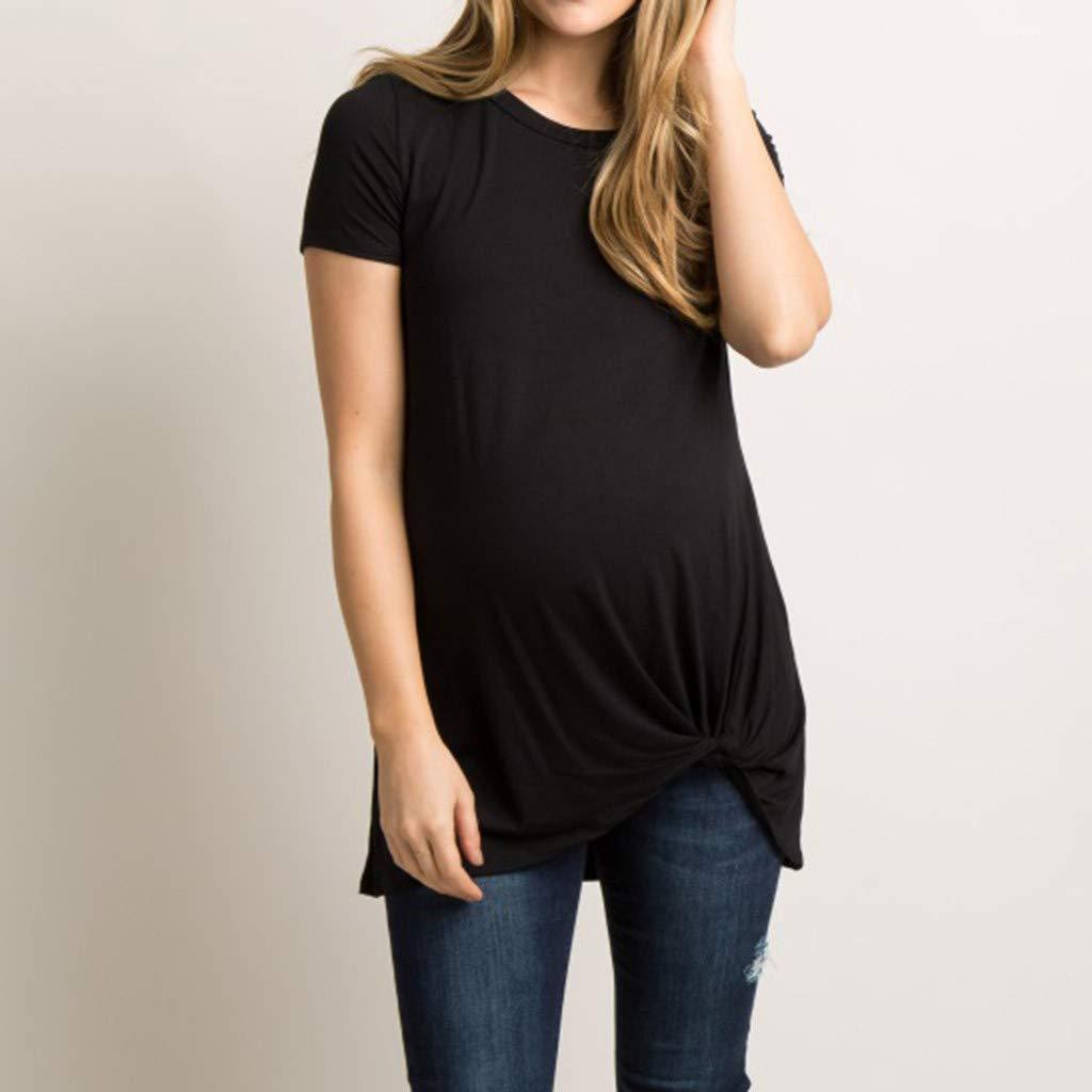 Maternity Tops,Maternity Shirts HOSOME Womens Maternity Short Sleeve Crew Neck Tie Pregnancy T-Shirt