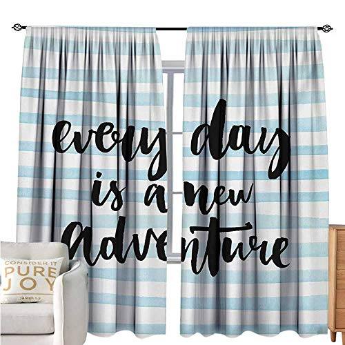 bybyhome AdventureRoom Darkening CurtainsEvery Day is a New Adventure Quote Inspirational Things About Life ArtworkBlackout Draperies for Bedroom W96 xL72 Baby Blue Black