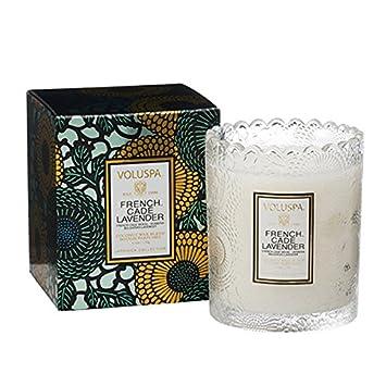 Amazoncom Voluspa French Cade Lavender Scalloped Glass Candle