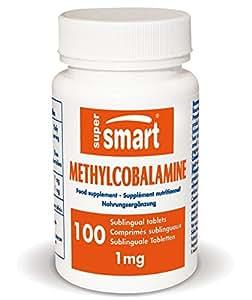 Supersmart MrSmart - Vitaminas - Methylcobalamine 1mg (Metilcobalamina) - La forma más activa de Vitamina B12, utilizada principalmente para regenerar las neuronas. 100 comprimidos sublinguales.