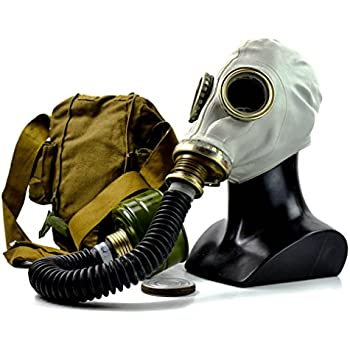 Genuine Original Soviet Russian gas mask GP-5 with black hose Surplus USSR face mask (Large)