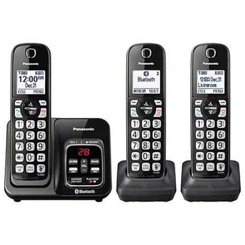 Panasonic KX-TG833SK Link2Cell Bluetooth with Talking Caller ID 3 Handset Cordless Phone (Certified Refurbished)