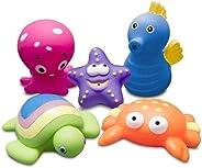 Bichinhos para Banho Kit 5 Animais Marinhos Comtac Kids - Set 1