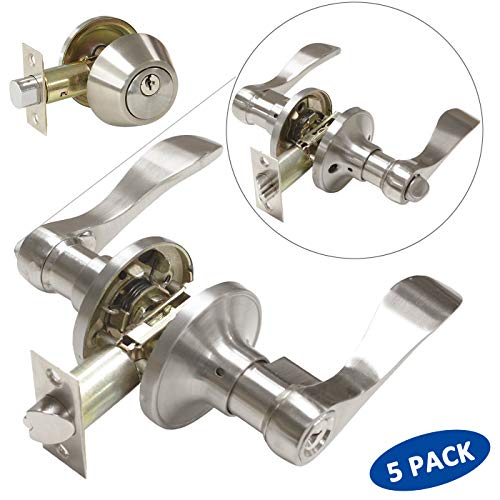 (5 Pack Wave Style Door Handleset Locksets, Entrance Door Levers with Single Cylinder Deadbolts in Satin Nickel Finish, All Keyed Alike Front/Entry Doors)