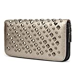 OURBAG Cool Fashion Women Punk Style Spike Handbag Rivet Studded Long Wallet Phone Bag Gray Medium