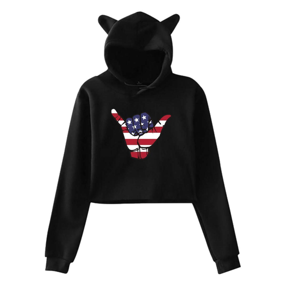 American Flag of Hand,Cat Ear Hoodie Sweatshirts,Midriff-Baring Hoody Sweater Womens Sexy Stylish Hoodie Sweater Girls Cute Hoodies