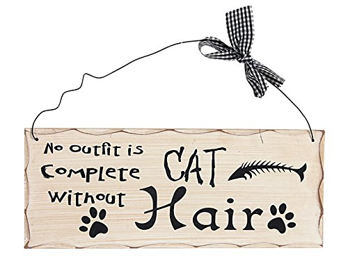 - Attraction Design No Outfit is Complete Without Cat Hair Wood Folk Wisdom Plaque, Cream