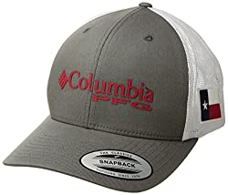 Columbia Unisex Pfg Mesh Snap Back Ball Cap, Titanium, Texas Flag, One Size