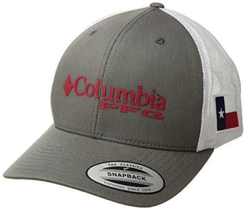 Columbia Mesh Hat - Columbia Unisex PFG Mesh Snap Back Ball Cap, Titanium, Texas Flag, One Size