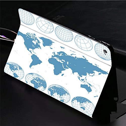 Funda para iPad de 9,7 pulgadas con diseño de mapa del mundo y globos de estructura de alambre, giratoria de 360 grados,...